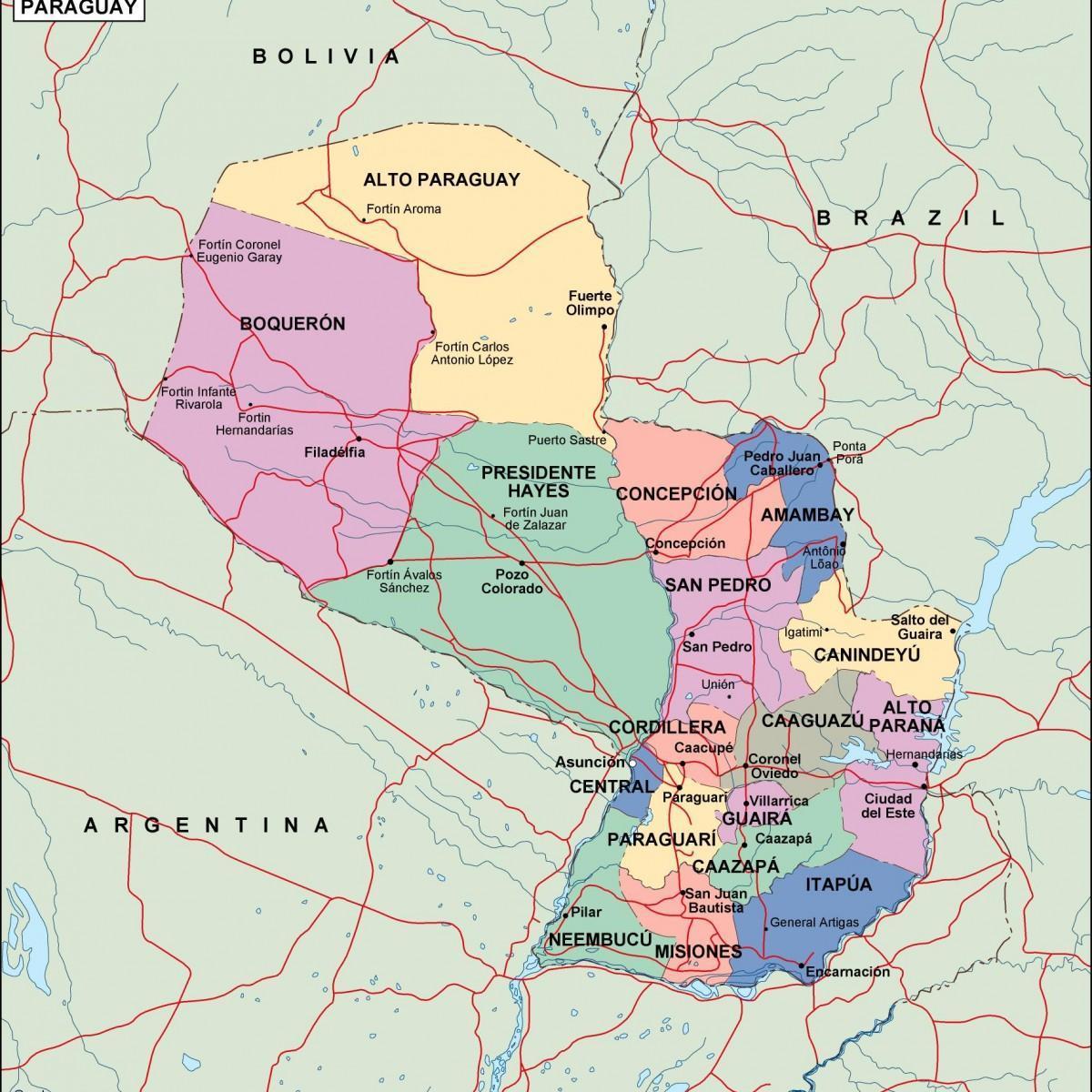 America Del Sud Cartina Politica.Mappa Politica Del Paraguay Mappa Politica Del Paraguay